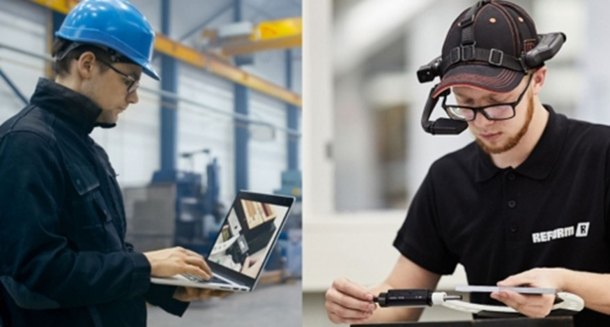 Workers using tech
