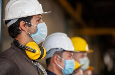 Workers with facemasks